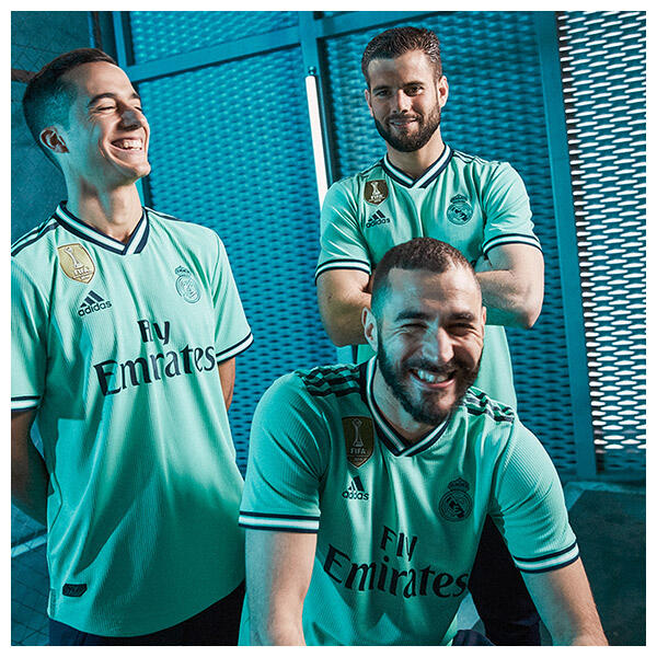 Lucas Vázquez, Nacho, and Karim Benzema wear the 2019-20 Real Madrid Third Kit