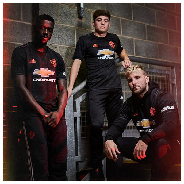 Axel Tuanzebe, Luke Shaw and Daniel James wear the 2019/20 Manchester United Third Kit