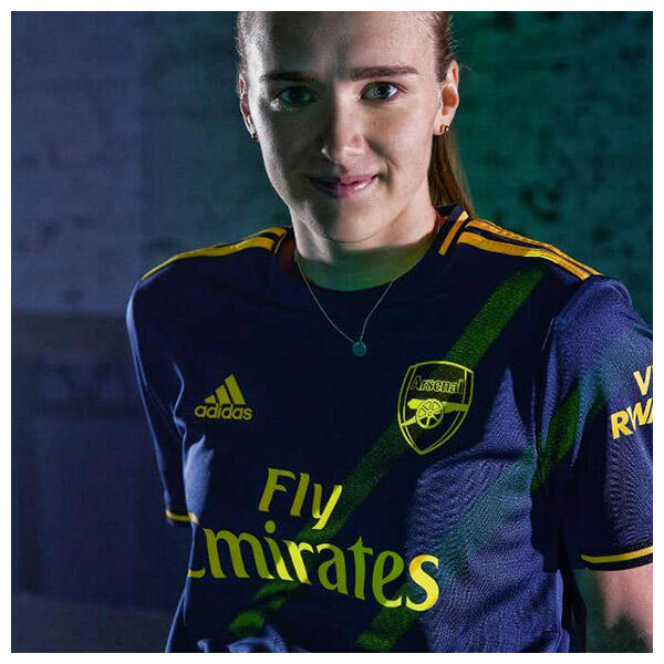 Vivianne Miedema wears the 2019-20 Arsenal FC Third Jersey