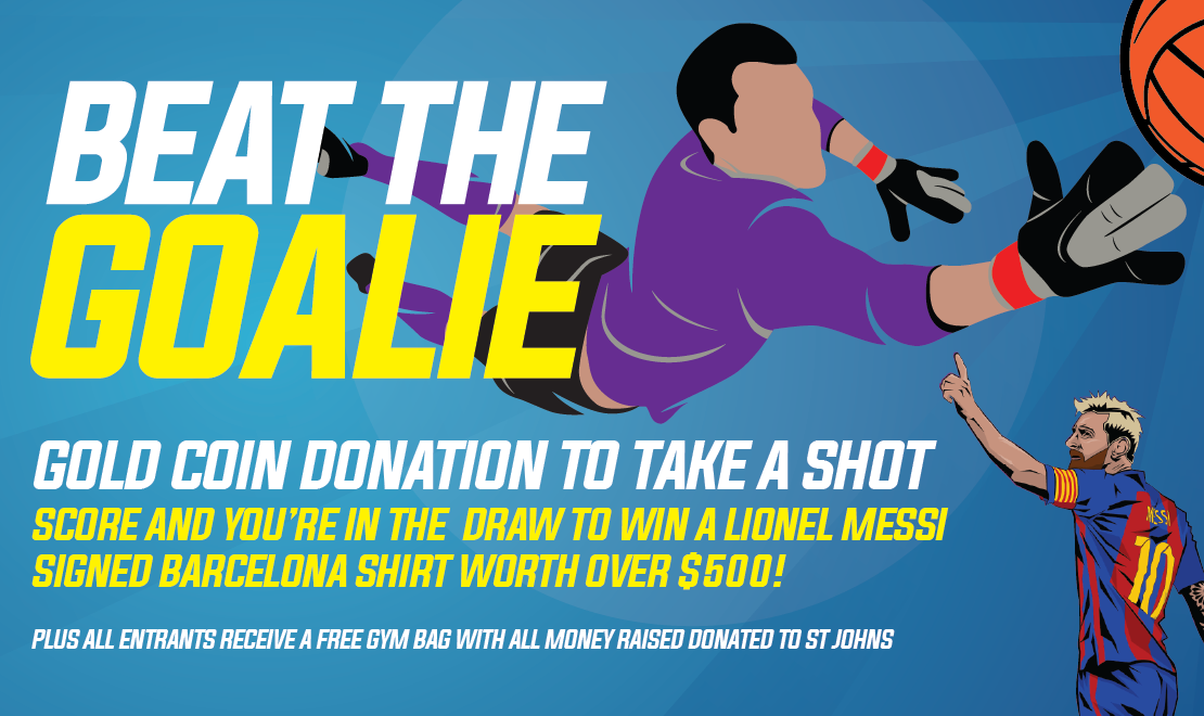 Beat the Goalie at Anchor AIMS Games to be in to win a Barcelona shirt signed by Lionel Messi