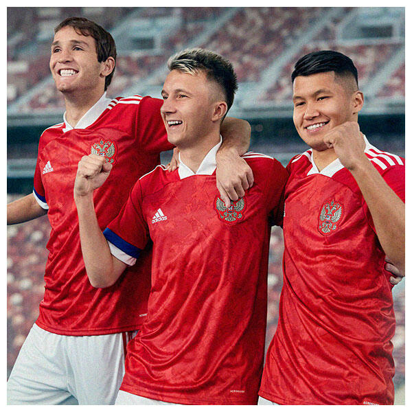 The 2020 Russia Home Jersey from adidas Football is designed with red colour blocking as inspired by the artwork which informed its concept