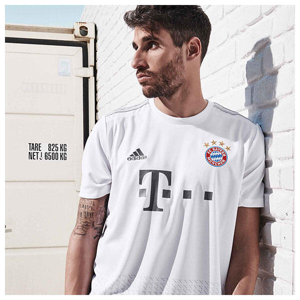 The 2019/20 Bayern Munich away shirt features a crisp white base colour accented with subtle light grey detailing